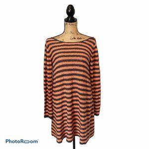 Free People Tunic Orange Brown Stripe Size XS